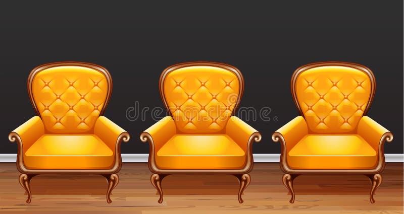 Trois fauteuils jaunes dans la chambre illustration stock