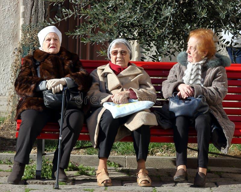 Trois femmes agées s'asseyant sur le banc rouge sous l'arbre dans une cour atmosphérique intérieure photos libres de droits