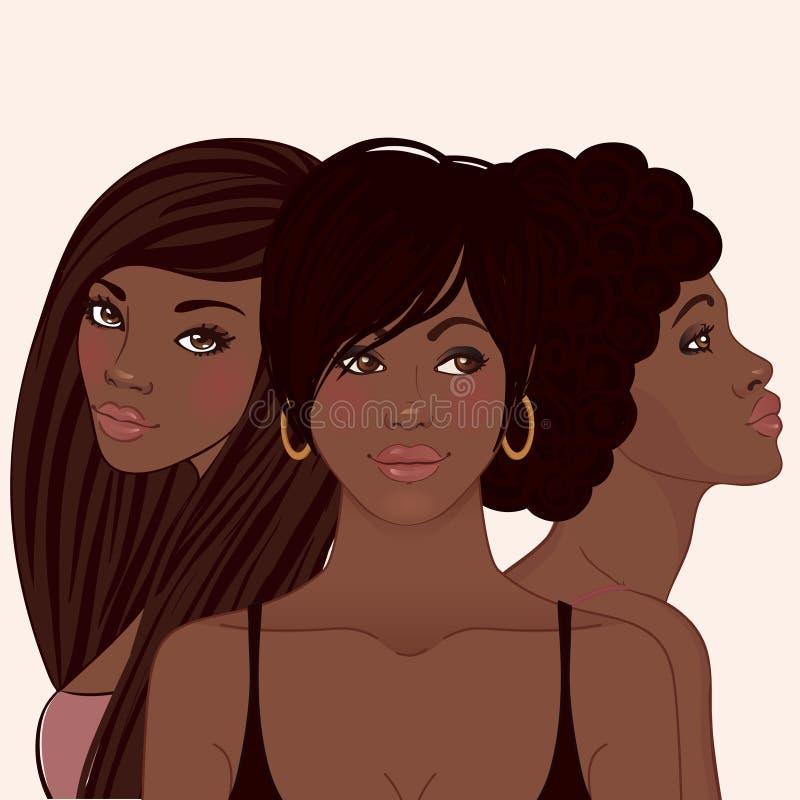 Trois femmes amerivan assez africains de jeunes illustration stock