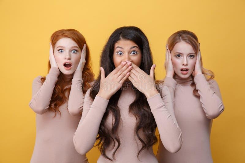 Trois femmes couvrant leurs oreilles près de l'ami photo stock