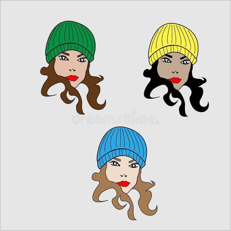Trois femmes dans des chapeaux photo stock