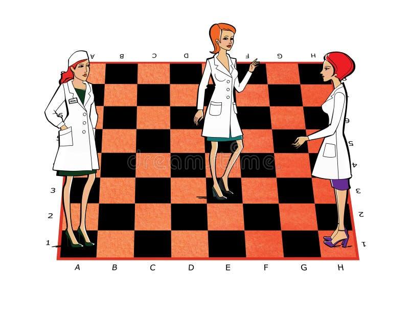 Trois femmes dans des uniformes blancs de manteaux sur un échiquier Médecine, pharmacie, personnel Relations de service illustration de vecteur