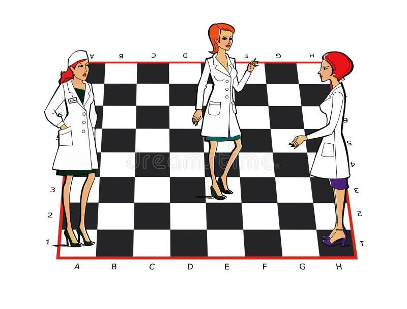 Trois femmes dans des uniformes blancs de manteaux sur un échiquier Médecine, pharmacie, personnel Relations de service illustration libre de droits