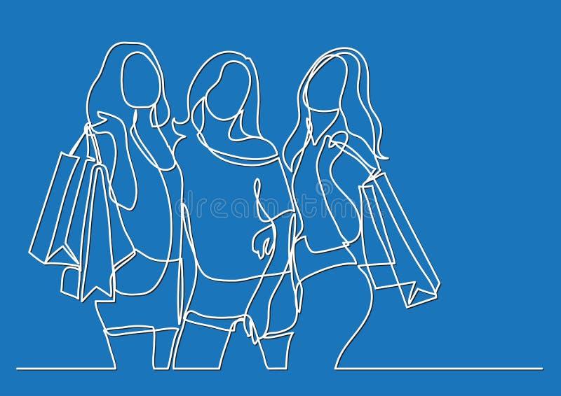 Trois femmes heureuses faisant des emplettes - dessin au trait continu illustration de vecteur