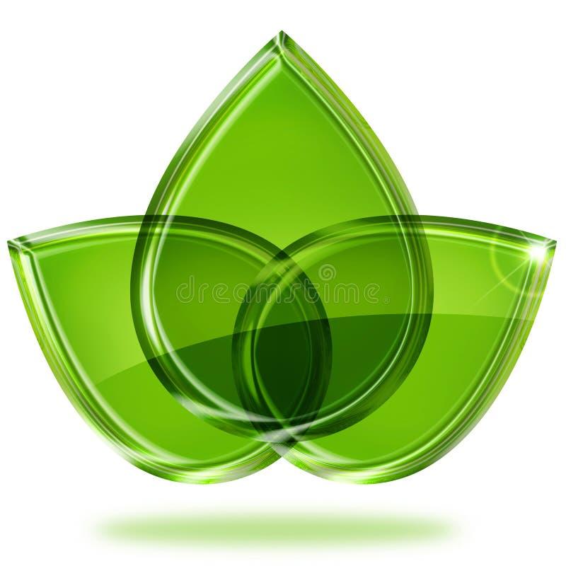 Trois feuilles vertes illustration libre de droits