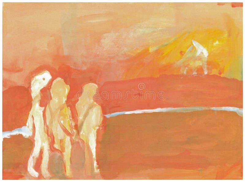 Trois figures, chasseurs 1 illustration stock