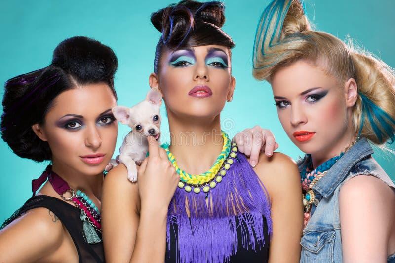 Trois filles avec le chiwawa photographie stock
