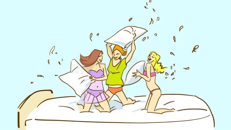 Trois filles de sourire dans des pyjamas balançant leurs oreillers sur le lit illustration stock