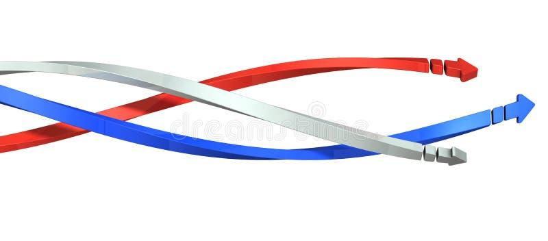 Trois flèches avancent tandis qu'empêtrées dans une spirale illustration de vecteur