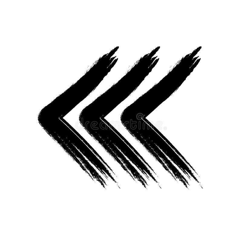Trois flèches ont fait à style grunge blanc noir illustration de vecteur