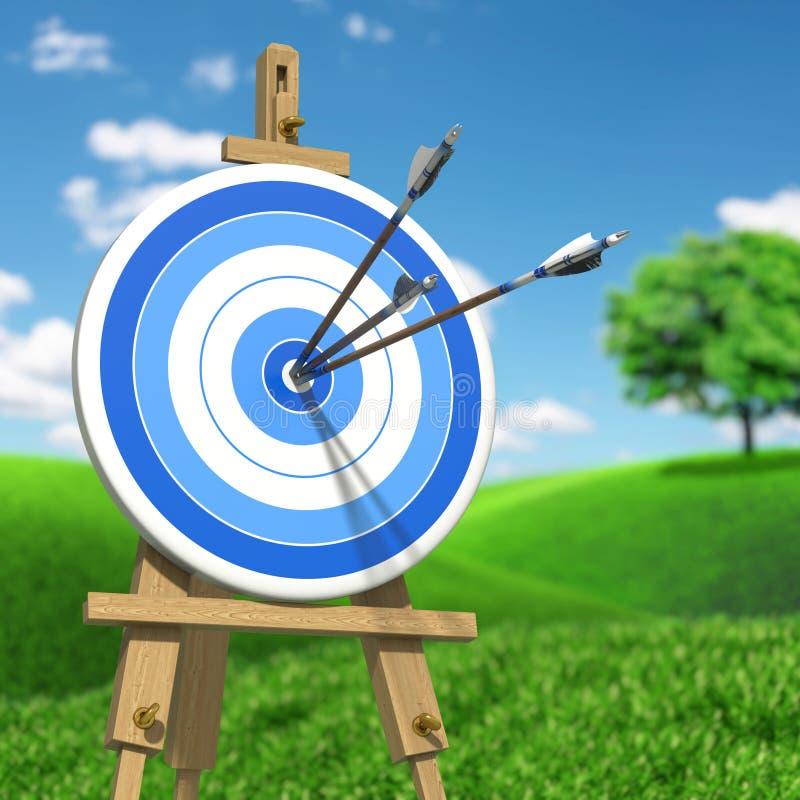 Trois flèches sur une cible de tir à l'arc illustration stock