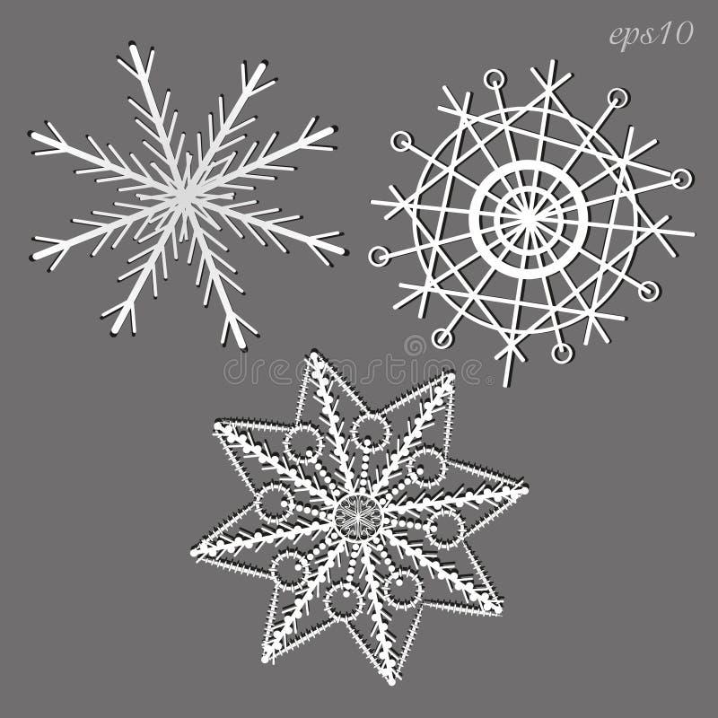 Trois flocons de neige blancs illustration libre de droits