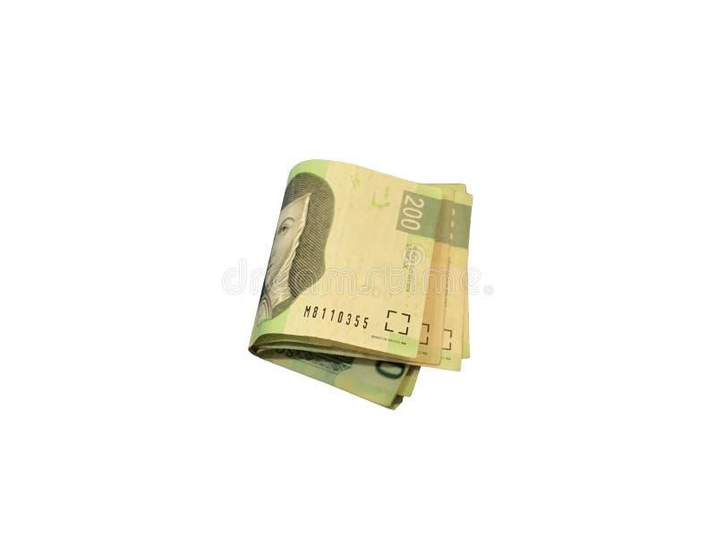Trois fois et ont groupé des factures du peso mexicain 200 d'isolement sur le fond blanc image libre de droits