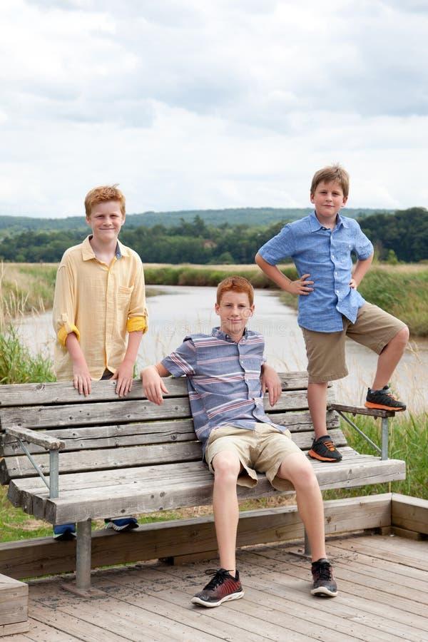Trois frères sur le banc en bois photographie stock