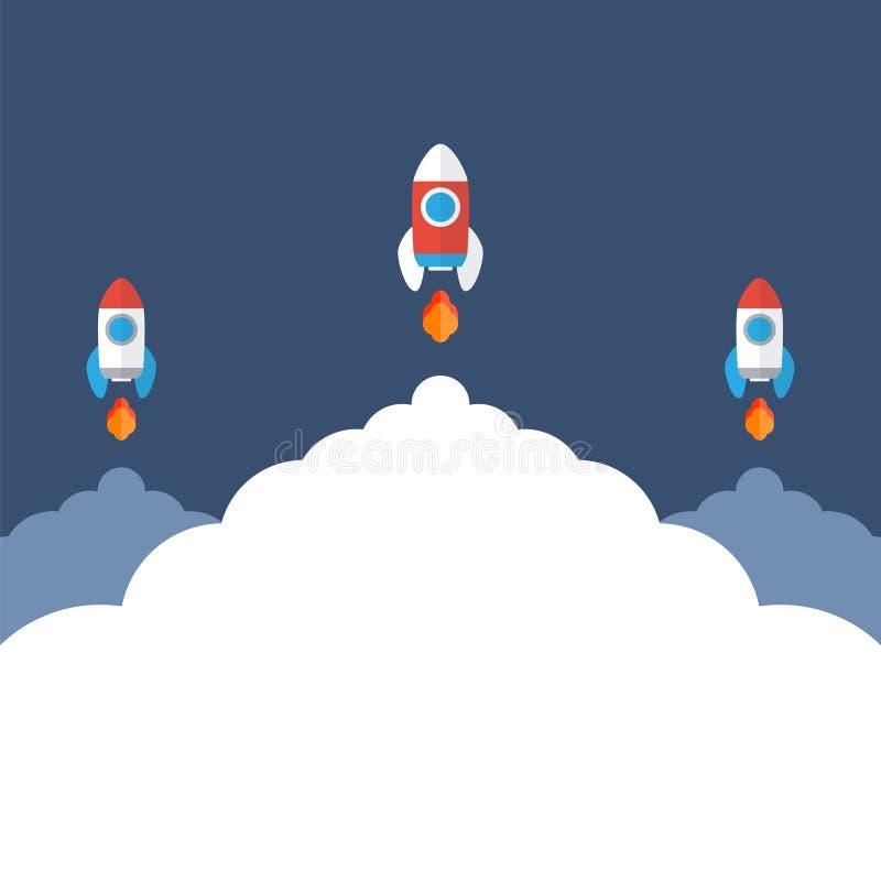 Trois fusées d'espace vole  Commencez le symbole de concept illustration libre de droits