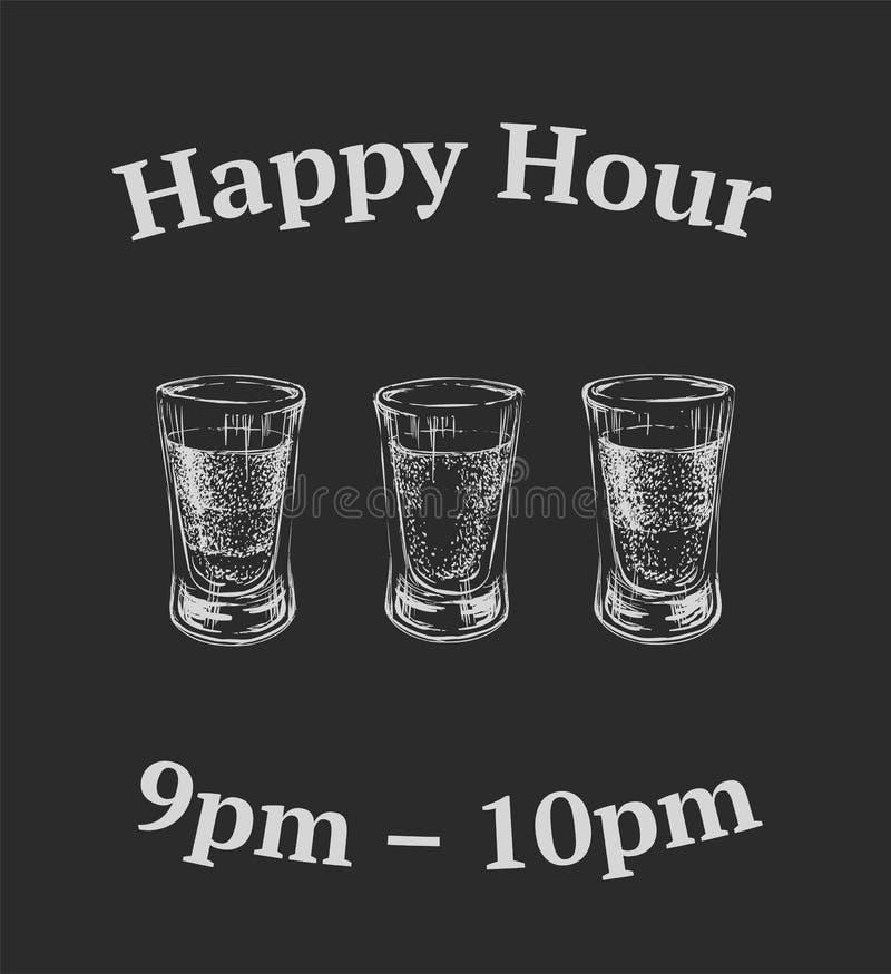 Trois genres de boissons alcoolisées dans des verres à liqueur Illustration tirée par la main de vecteur illustration libre de droits