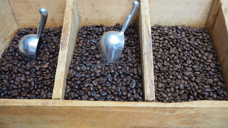 Trois genres de grains de café noirs dans la caisse avec le scoop photo stock