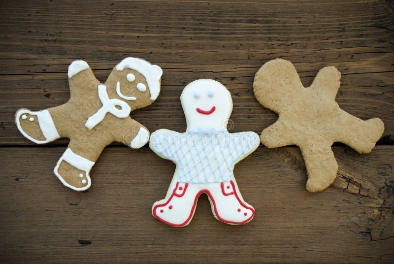 Trois Ginger Bread Man heureux images libres de droits
