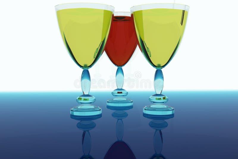 Trois glaces avec du vin. illustration libre de droits