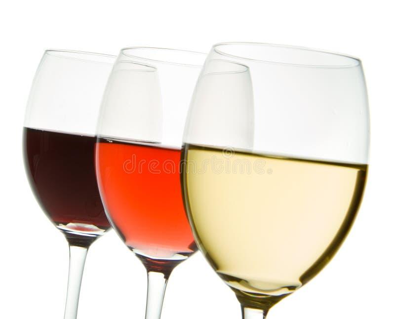Trois glaces de vin images stock
