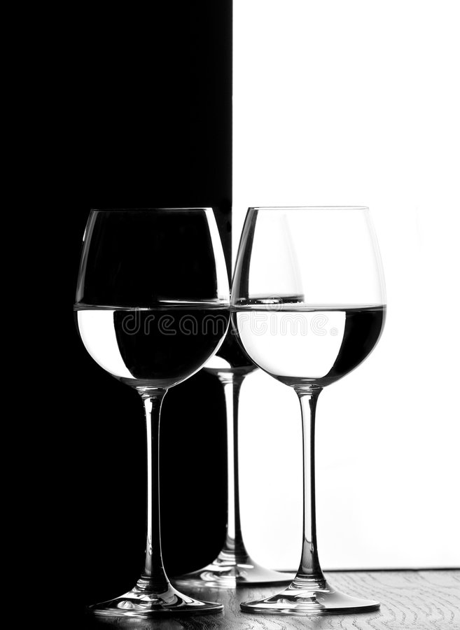 Trois glaces de vin images libres de droits