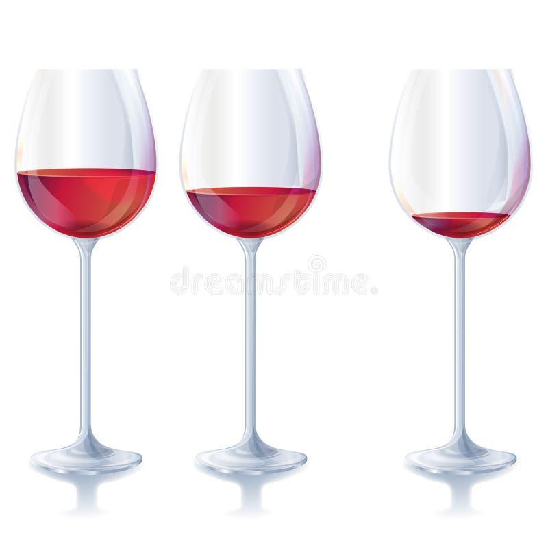 Trois glaces de vin rouge illustration libre de droits