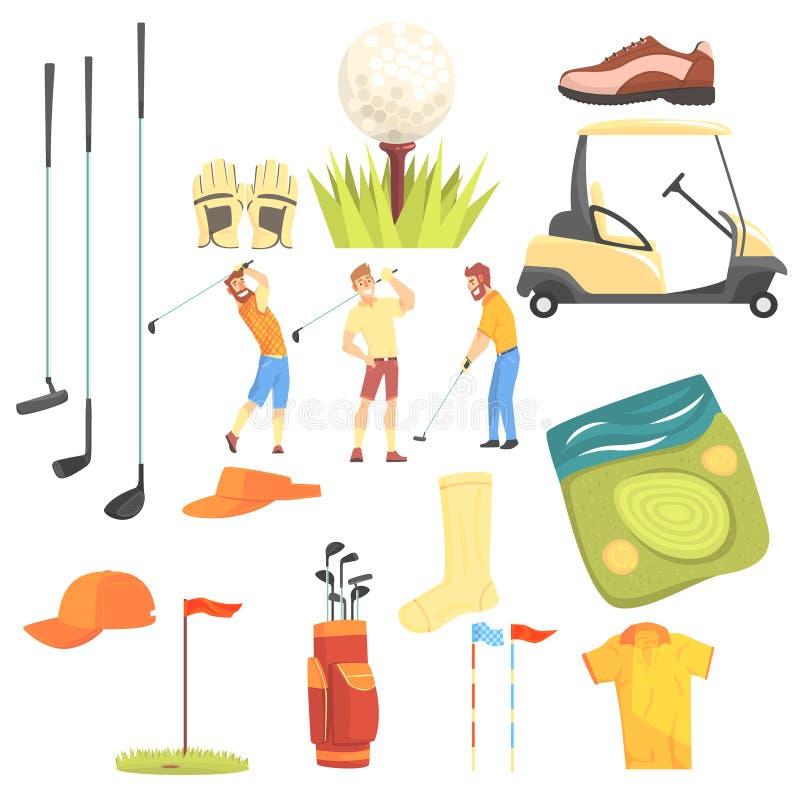 Trois golfeurs jouant le golf entouré par l'illustration de vecteur d'équipement de sport et de bande dessinée d'attributs de jeu illustration de vecteur