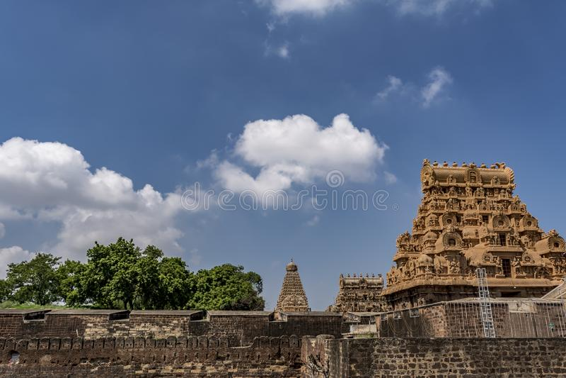 Trois Gopurams du grand temple, Thanjavur photographie stock libre de droits