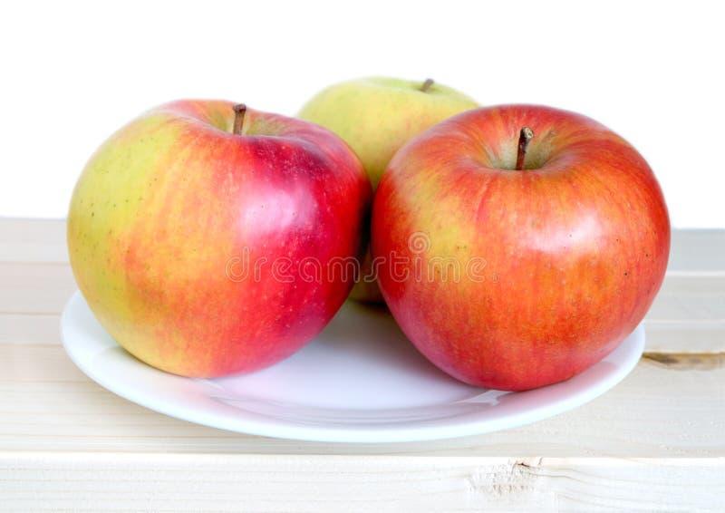 Trois grandes pommes mûres sur le plan rapproché blanc de plat photos libres de droits