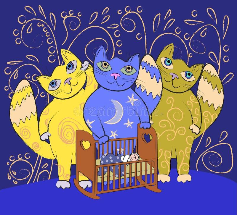 Trois grands chats féeriques apaisent un petit enfant Fond de berceuse illustration de vecteur