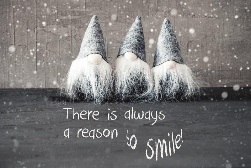 Trois Gray Gnomes Ciment Flocons De Neige Temps De