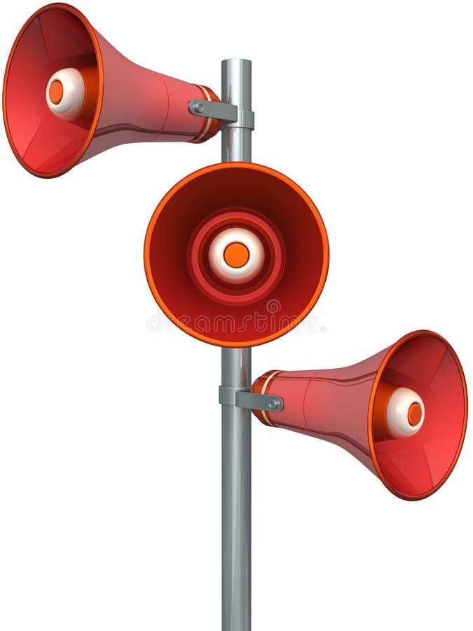 Trois haut-parleurs rouges illustration de vecteur