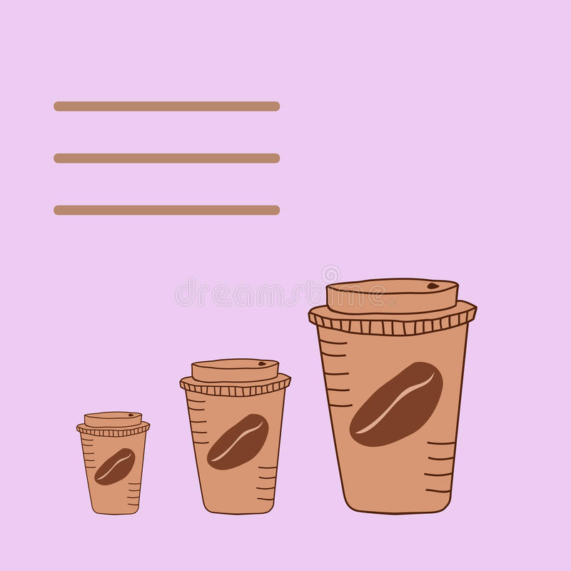 Trois hautes tasses de café illustration stock