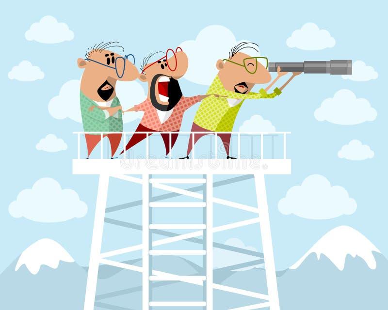 Trois hommes sur tour de guet illustration stock