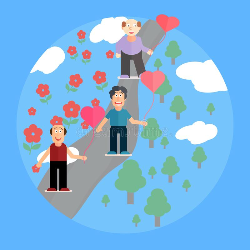 Trois hommes tiennent les symboles des coeurs Carte postale de fête à la Saint-Valentin de St, appartement de style illustration stock