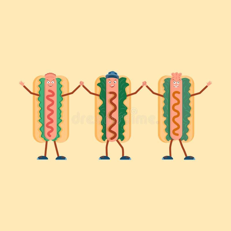 Trois hot-dogs se réjouir et tenir des mains illustration libre de droits