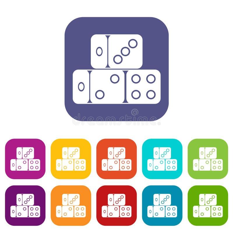 Trois icônes de cubes en matrices réglées illustration libre de droits
