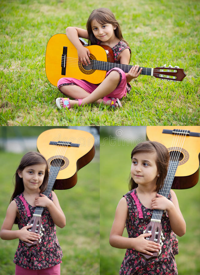 Trois images d'une belle fille avec une guitare photographie stock libre de droits