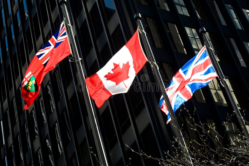 Trois indicateurs : Ontarian, Canadien, britannique photos libres de droits