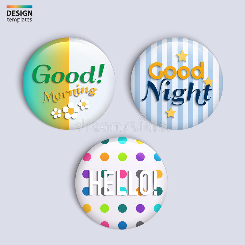 Trois insignes brillants colorés avec le texte illustration libre de droits