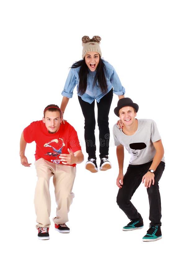 Trois jeunes adolescents ont l'amusement photo stock