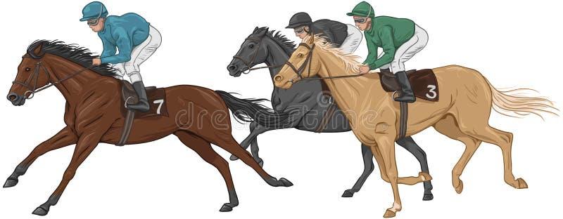 Trois jockeys sur leurs chevaux de course illustration libre de droits