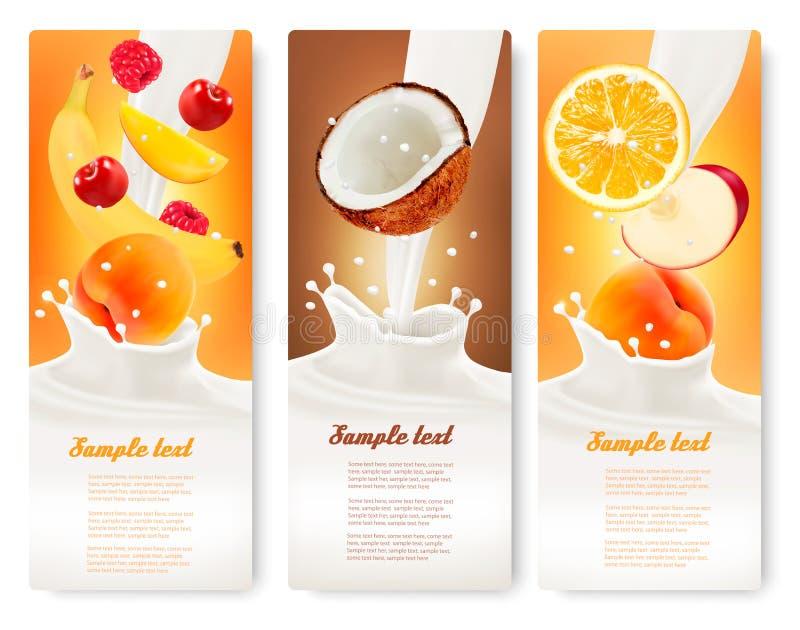 Trois labels avec le fruit différent tombant dans éclabousse du lait illustration de vecteur