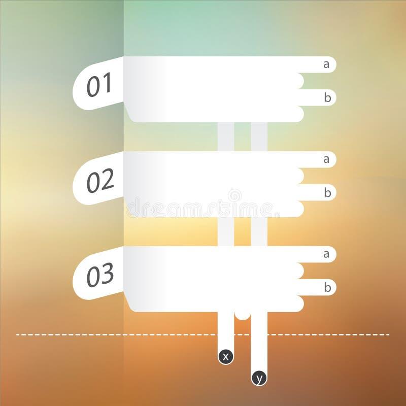 Trois labels des textes sur le backgroud abstrait de tache floue illustration libre de droits
