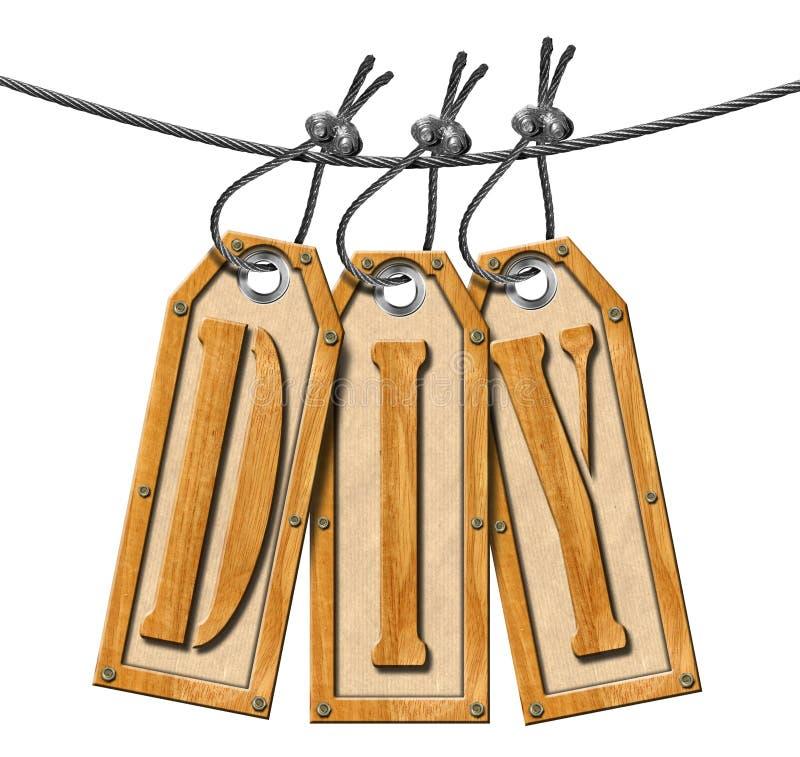 Trois labels en bois avec le texte Diy illustration de vecteur