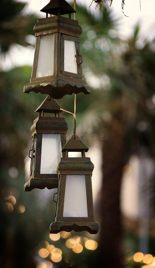 Trois lanternes de Noël images stock