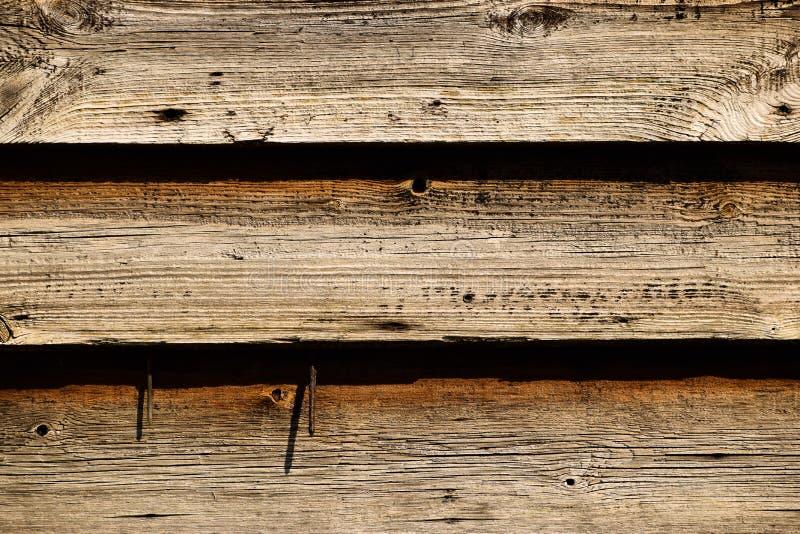 Trois ligne vieux fond en bois avec des clous photographie stock libre de droits