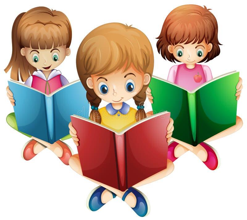 Trois livres de relevé de filles illustration stock
