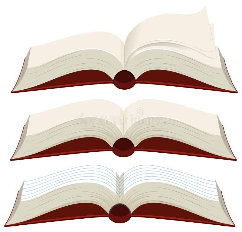 Trois livres en blanc avec les couvertures rouges illustration de vecteur