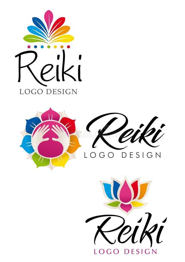 Trois logos différents de Reiki avec le thème floral avec les couleurs des sept chakras illustration stock